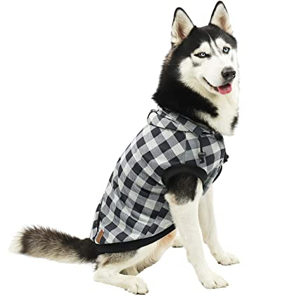 f8befd06f46b PAWZ Road Large Dog Plaid Shirt Coat Hoodie Pet Winter Clothes Warm and  Soft Grey 3XL
