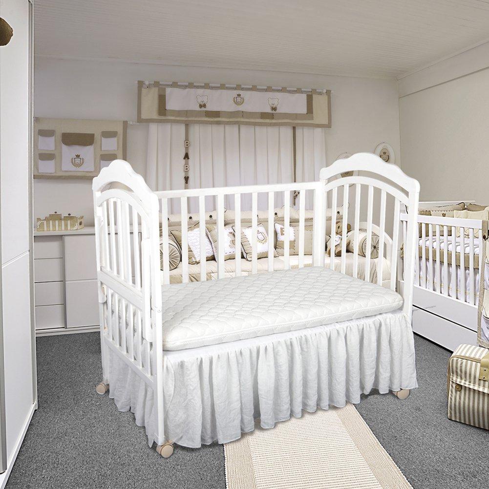 Haperlare White Baby Crib Skirt, Dust Ruffle Toddler Bed Skirt, Nursery Crib Bedding Skirts Handmade for Boys Or Girls Birthday Party, Baby Shower & Baby Room Decoration, 13.8'' Drop