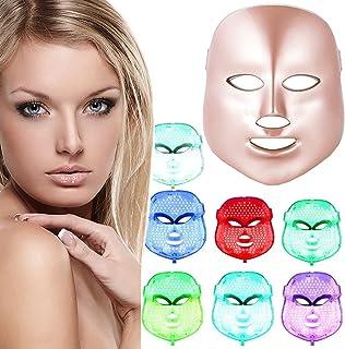 xuehaostore LED Photon Therapie 7 Farben Lichtbehandlung Gesichts Schönheit Hautpflege Verjüngung Pototherapie Maske PDT Schönheit Gesichtspflege für Zuhause (Golden)