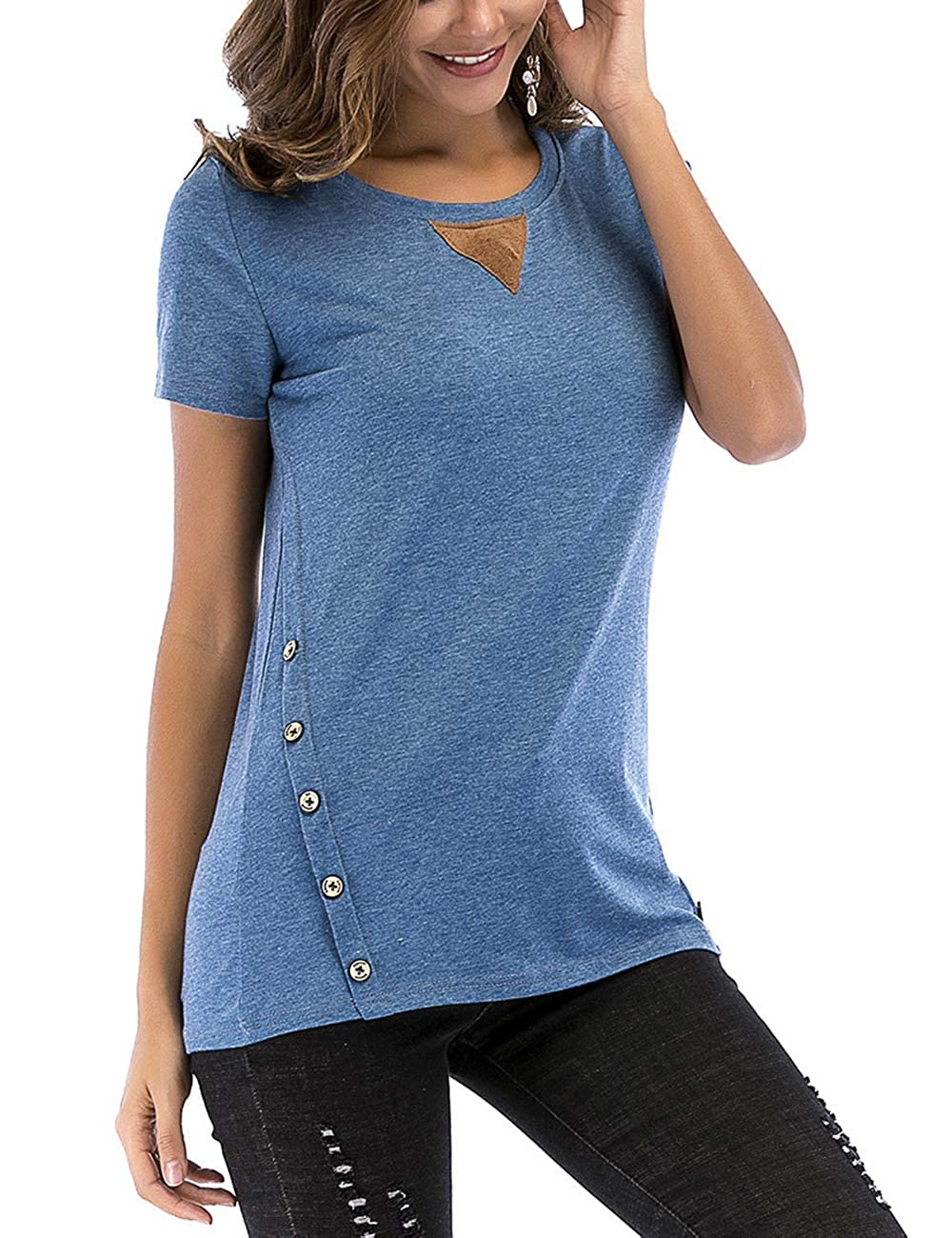 FeelinGirl Mujer Camisetas Mangas Cortas Tops Suelto Algodón Verano Blusa Casual