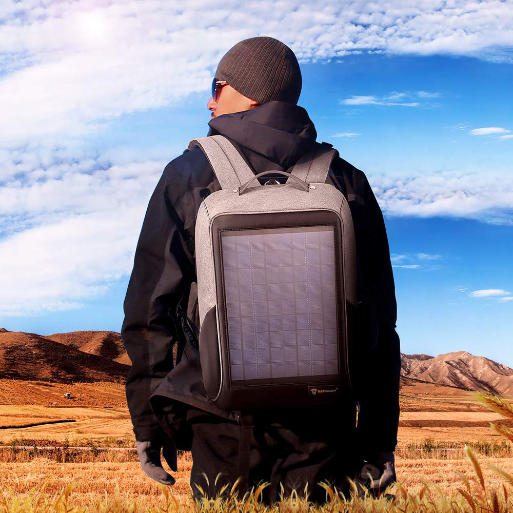 Black 10W Hiking Colar Camping Backpack with Flexible Solar Panel Power Charger,External USB Charging Port