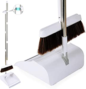Broom with Dustpan Combo Set, MEETSUN Long Handle Broom with Dustpan Upright Standing Dustpans with 1 small broom and dustpan set for Home Kitchen Outdoor Room Lobby Indoor Floor and Pet Hair Cleaning