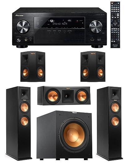 Pioneer Vsx-1124 7 2-channel Network A/v Receiver (Black) + 2 Klipsch  Rp-260f Floorstanding Speaker with Dual 6 5 Inch Cerametallic Cone Woofers  -