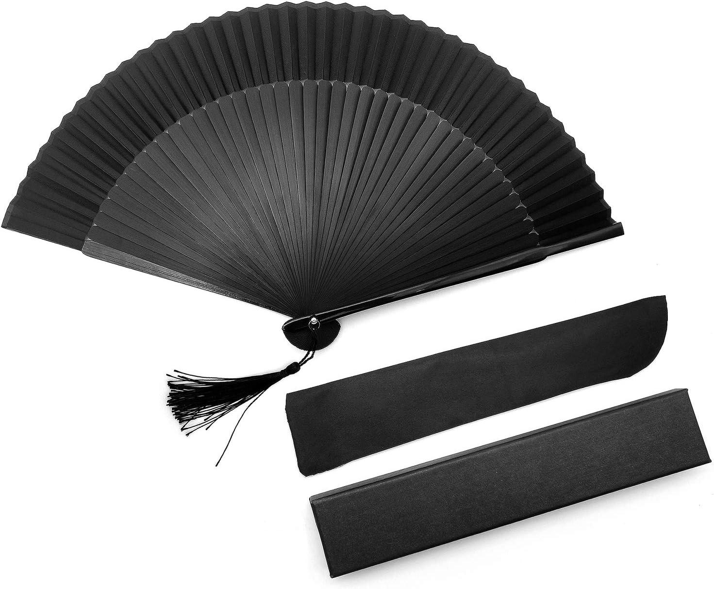 iZoeL - Abanico plegable de seda, portátil, bolsillo japonés eventable, regalo para boda, fiesta, invitados, verano, ceremonia, decoración de bailarina, flores de cerezo, hombre y mujer