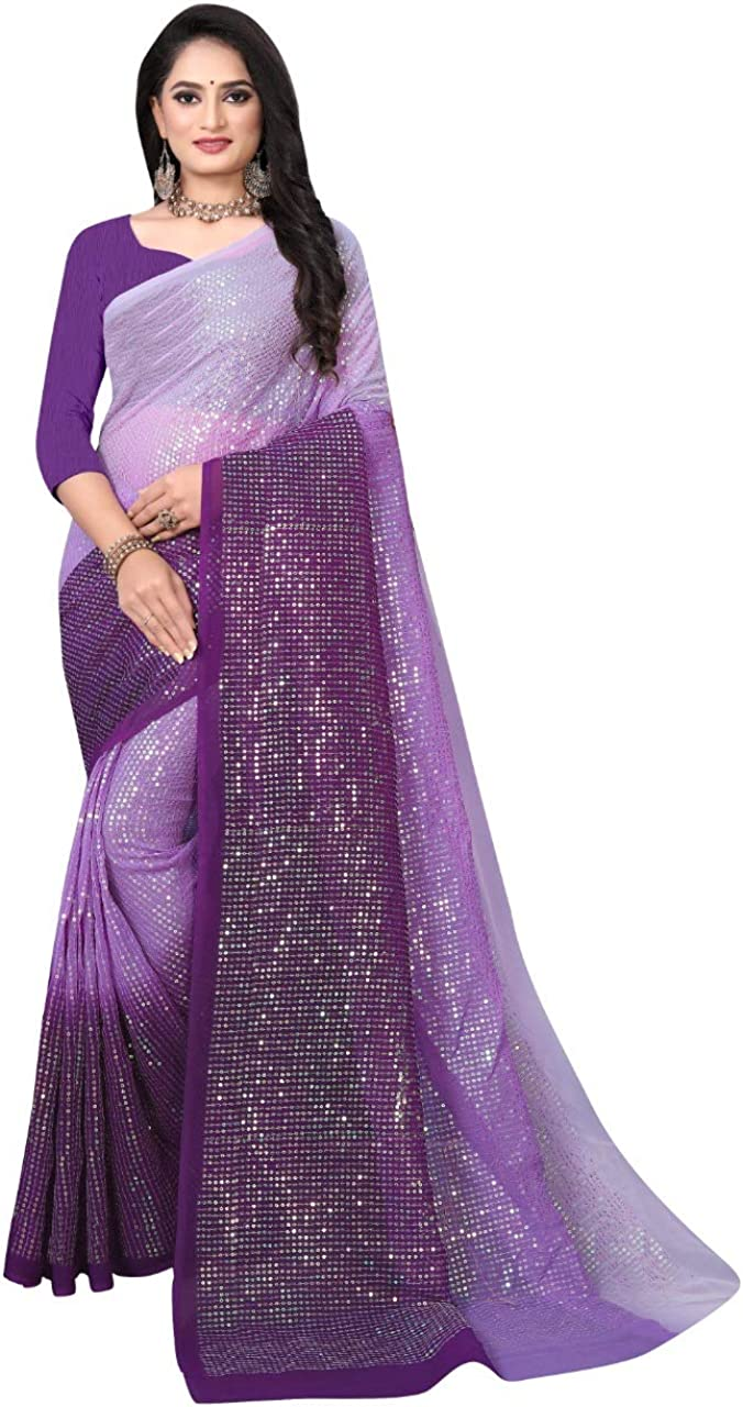 FABZONE Women's Partywear Georgette Heavy Embroidery Saree with Unstitched Blouse Piece