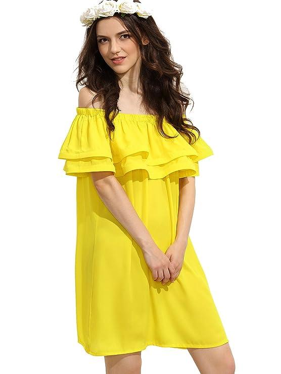 SHEIN de la mujer Off hombro volantes elástica Sweet Shift vestido: Amazon.es: Ropa y accesorios