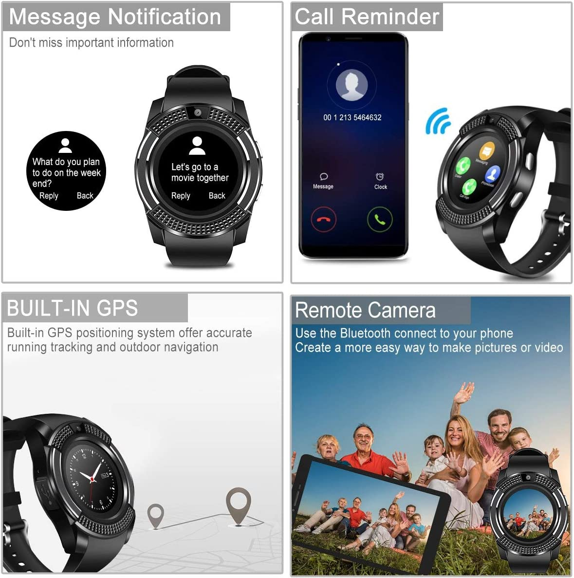 V8 Smartwatch Fitness Watch Wrist Phone Watch Touch Screen IP67 Waterproof Fitness Tracker with Heart Rate Monitor Pedometer Sports Activity Tracker ...
