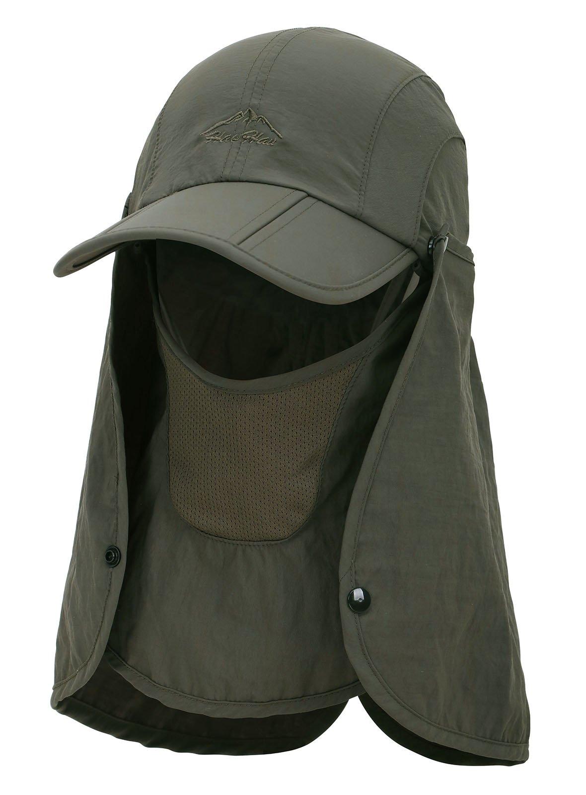 EPYA Sun Hat Outdoors Quick Dry UV Protection Safari Hat w/Flap Neck,Army Green