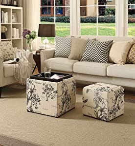Convenience Concepts Designs4Comfort Park Avenue Single Ottoman with Stool, Botanical Print