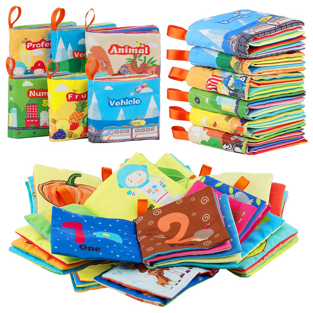 Raise Toy Baby's First Activity Crinkle Book, Non-Toxic Fabric Soft Cloth Books Early Education Toys Toddler, Infants Kids, Baby Shower - Pack of 6