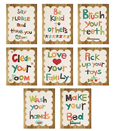 Good Manners 5x7 Wall Cards, Nursery Wall Decor, Gender Neutral Kidu0027s Art,  5x7