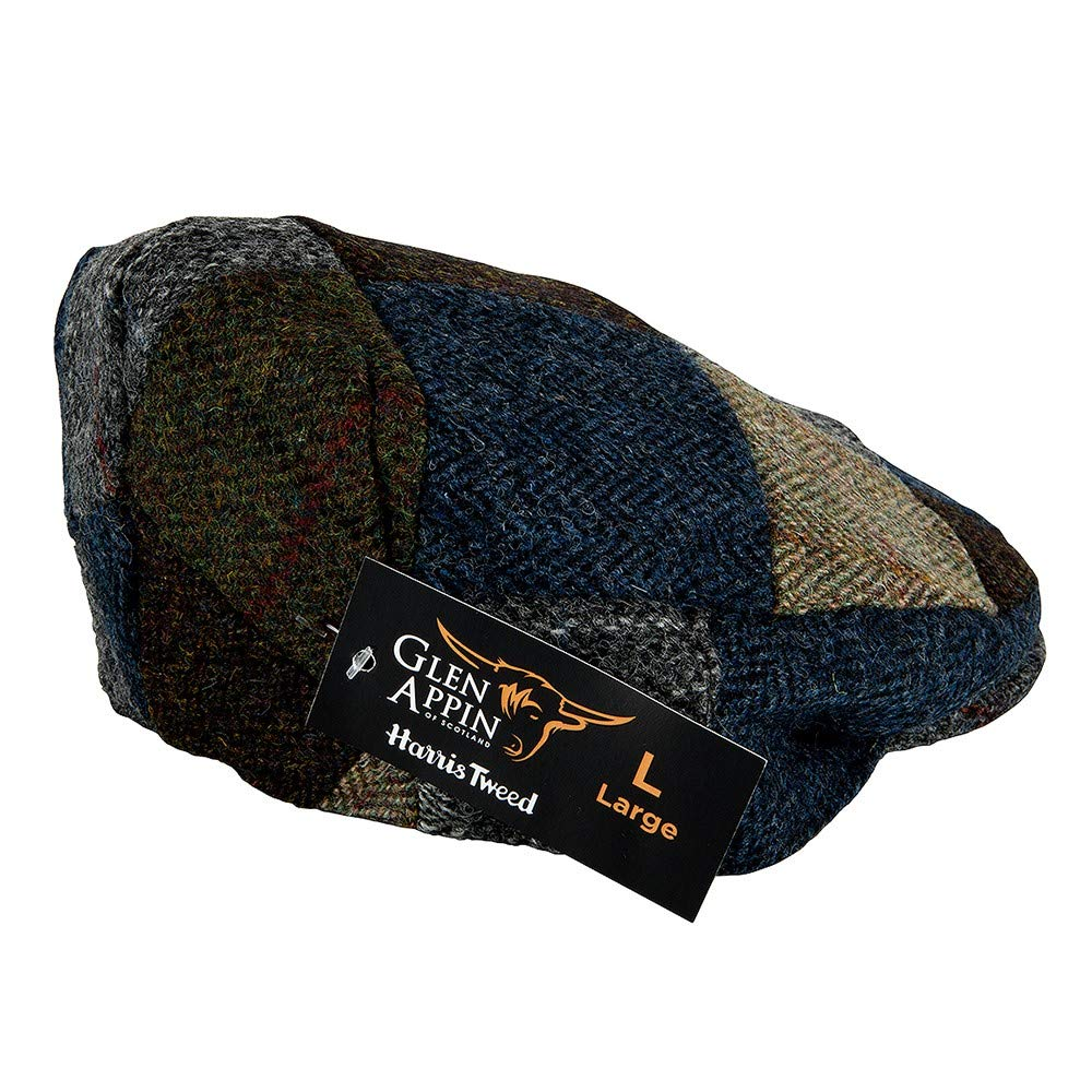 251cdc90b Genuine Harris Tweed Patch Flat Cap Made by Glen Appin of Scotland