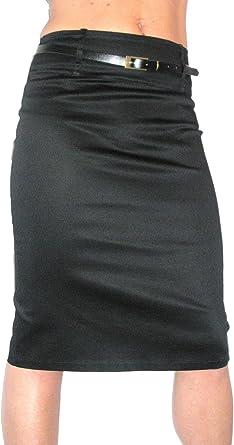ICE (2347) Stretch Satén Falda tubo + cinturón - Color: Negro ...