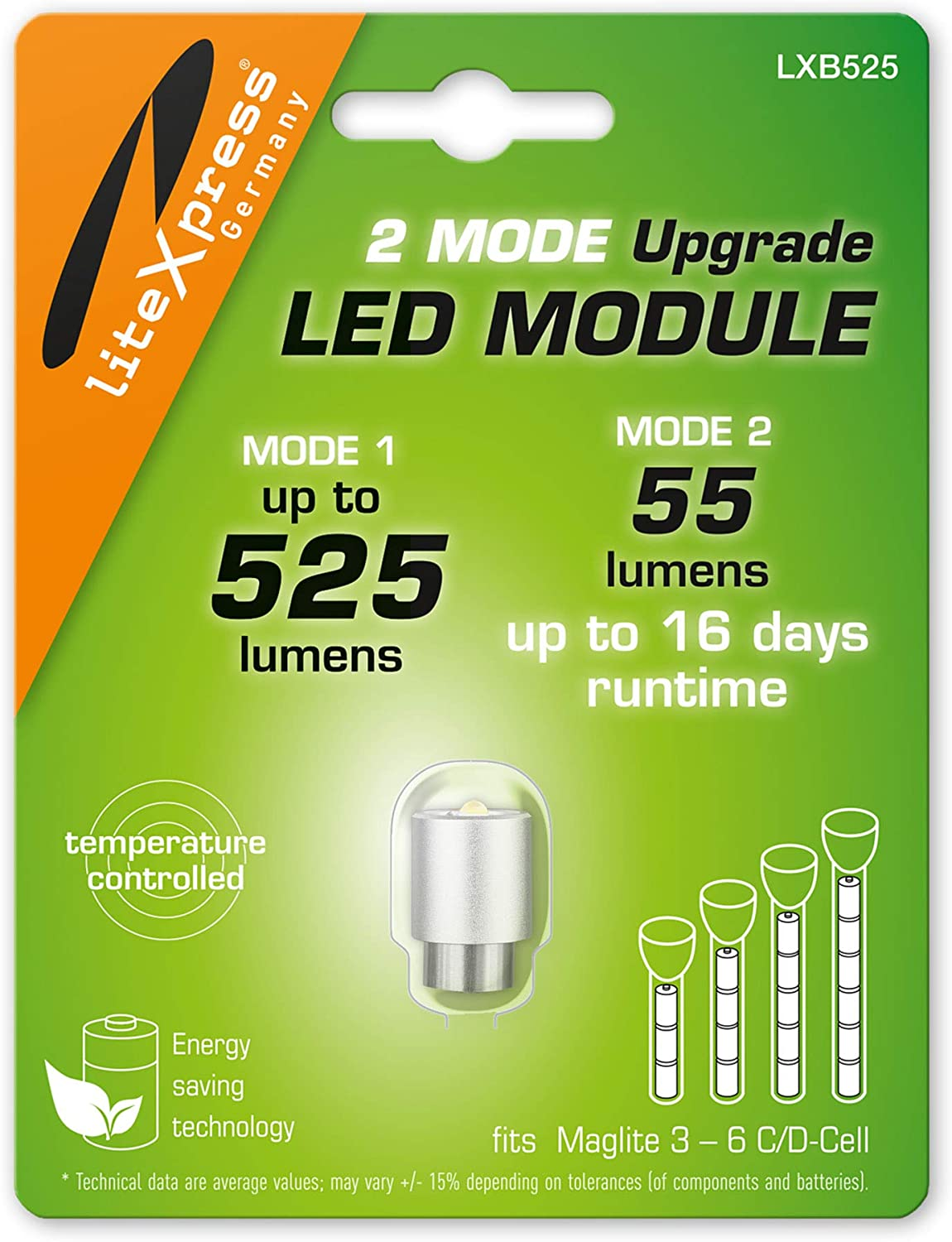 LiteXpress LXB525 2Mode LED Upgrade Modules 525 or 55 Lumens for 3-6 C/D-Cell Maglite Flashlights