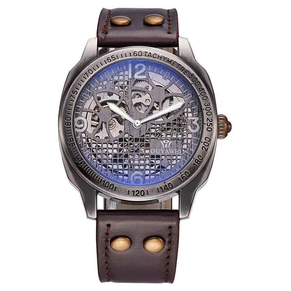 OUYAWEI Vintage Bronze Case Leather Strap Skeleton Automatic Watch Wristwatch for Men by OUYAWEI