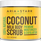 Aria Starr Coconut Milk Body Scrub - Best 100% Natural Skin Care Exfoliator & Moisturizer - 12 OZ