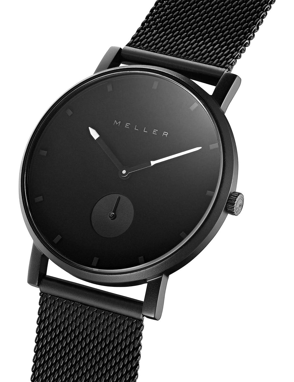 Meller Reloj Analógico para Unisex Adultos de Cuarzo con Correa en Acero Inoxidable 2N-2BLACK: Amazon.es: Relojes