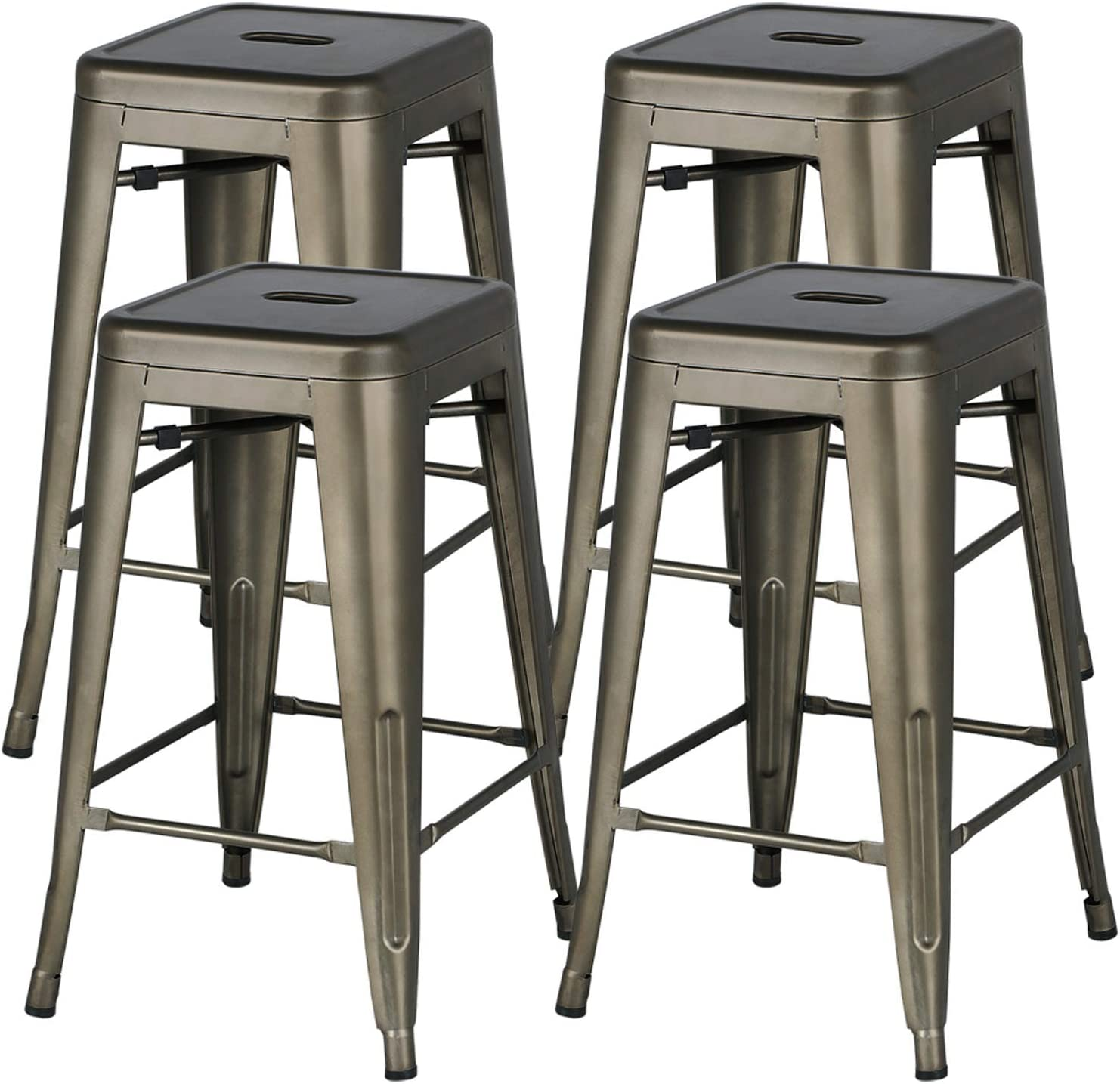 YAHEETECH 24inch Metal Bar Stools Counter Height Barstools Set of 4 High Backless Industrial Stackable Metal Chairs Indoor/Outdoor, Gun Metal: Furniture & Decor