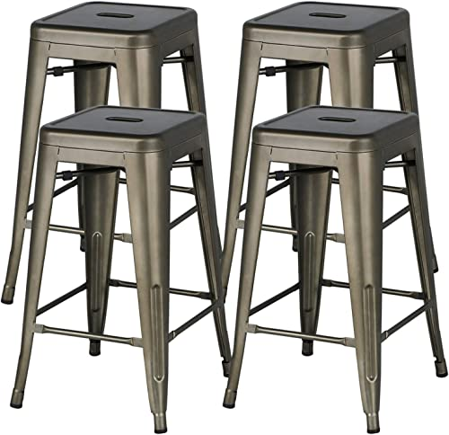Editors' Choice: YAHEETECH 24inch Metal Bar Stools Counter Height Barstools Set of 4 High Backless Industrial Stackable Metal Chairs Indoor/Outdoor