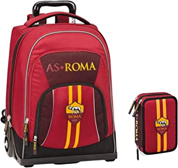 Kit completo de mochila escolar As Roma 2020 + estuche de 3 pisos completo + bolígrafo de purpurina + llavero silbato: Amazon.es: Equipaje
