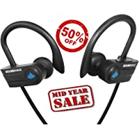 SoundWave Stereo Bluetooth 5.0 True Wireless Earphones, Premium Quality Exercise Mate for Sports, Gym, and Outdoors or just relaxing at home. IPX7 Waterproof, Sweat proof Headphones. CVC6.0 Noise Cancellation, Built-in Mic. Up to 10 Hours Playback Time. For iPhone iPad iPod Samsung Android.