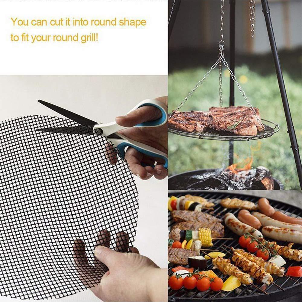 WEISIPU 3PCS BBQ Grill Mesh Mat - Glass Fiber Non-Stick Mats BBQ Grilling Mats Works on Grill Oven Stove Pans Outdoor Camping Picnics BBQ Tools...