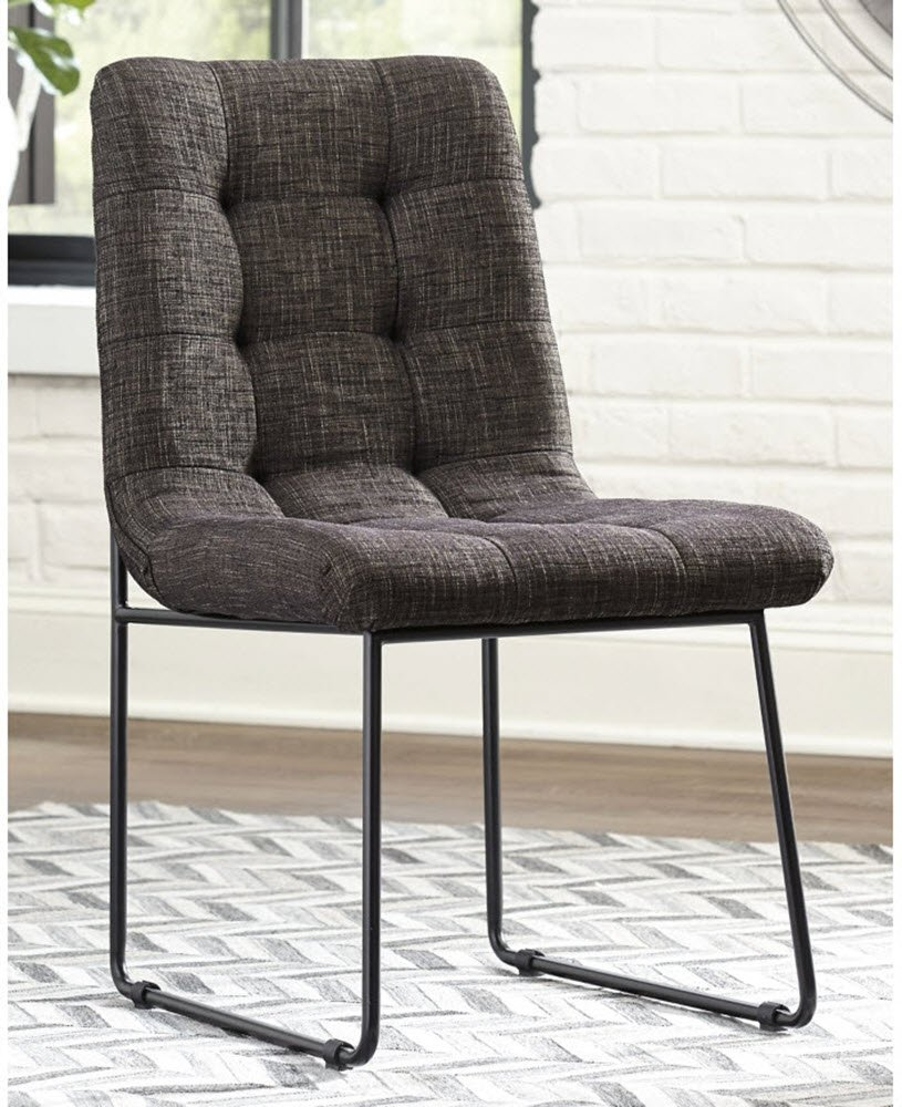 """Signature Design by Ashley Rozzelli Dining-Chair, Dark Brown - DINING ROOM CHAIRS: Dinner time can't come fast enough. Pull up these chairs for the very best in contemporary comfort and design. Covered in clean lines and dark brown, it complements any table HANDSOMELY CRAFTED: Cushioned, tufted seat is upholstered in polyester with a powder coated metal frame MINIMALIST CHIC: Designed with a """"slouchy pillow"""" styled seat, the mottled coffee colored chairs represent the very best in relaxed elegance, beautifully illustrating that less is more - kitchen-dining-room-furniture, kitchen-dining-room, kitchen-dining-room-chairs - 71XbzZeTfjL -"""