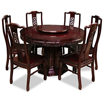 China Furniture Online Rosewood Dining Table, 48 Inches Flower And Bird  Carving Design Round Dining
