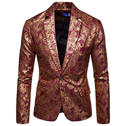 Mens Dress Floral Party Suit Stylish One Button Jacket ...
