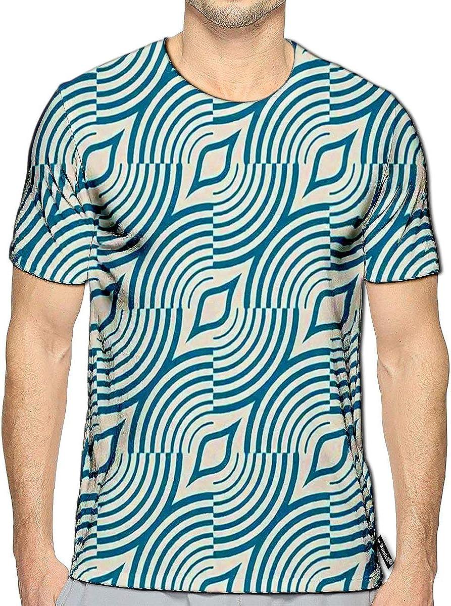 Randell 3D Printed T-Shirts Blue Kaleidoscope Short Sleeve Tops Tees