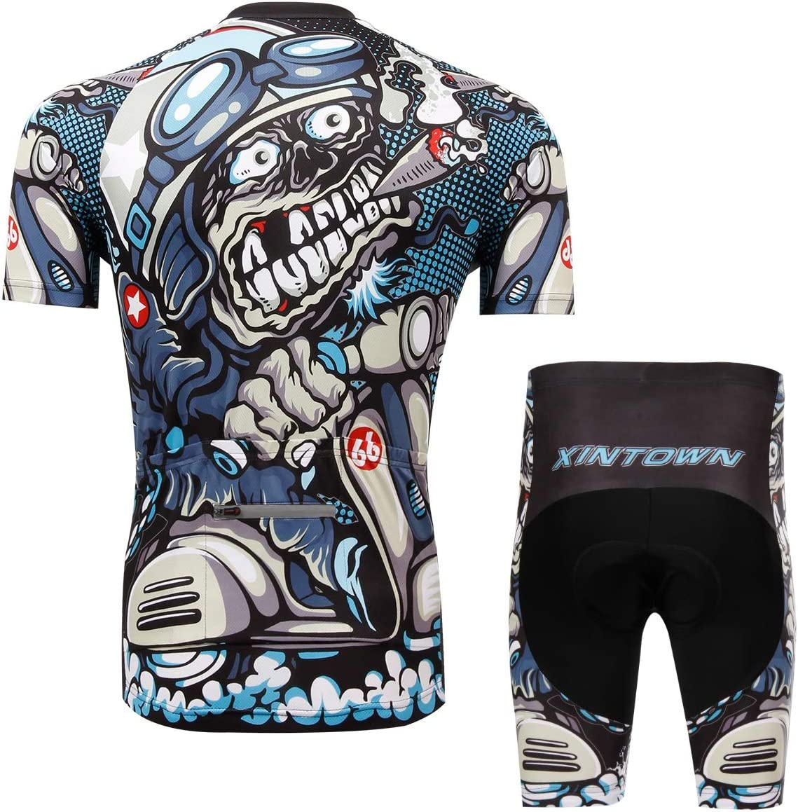 Unkoo Interesting Cycling Jersey Skull Sublimation Printing Polyester Summer Quick Dry Bike Men Plus Size Pro Short Sleeve Clothes Mens Half Top Racing Team Biking Bib Shorts Set