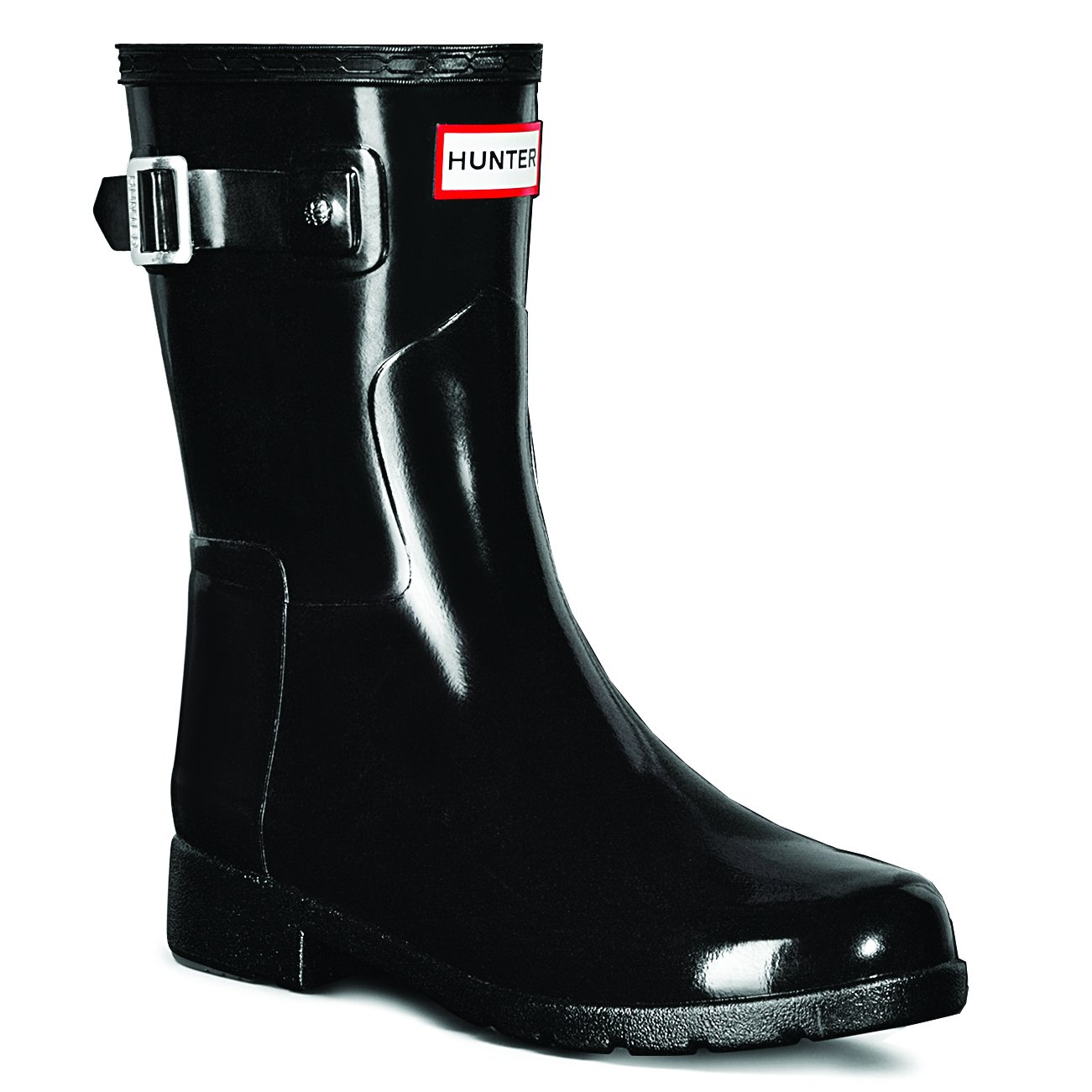 Hunter Womens Original Refined Short Gloss Snow Rain Boots - Black - 7