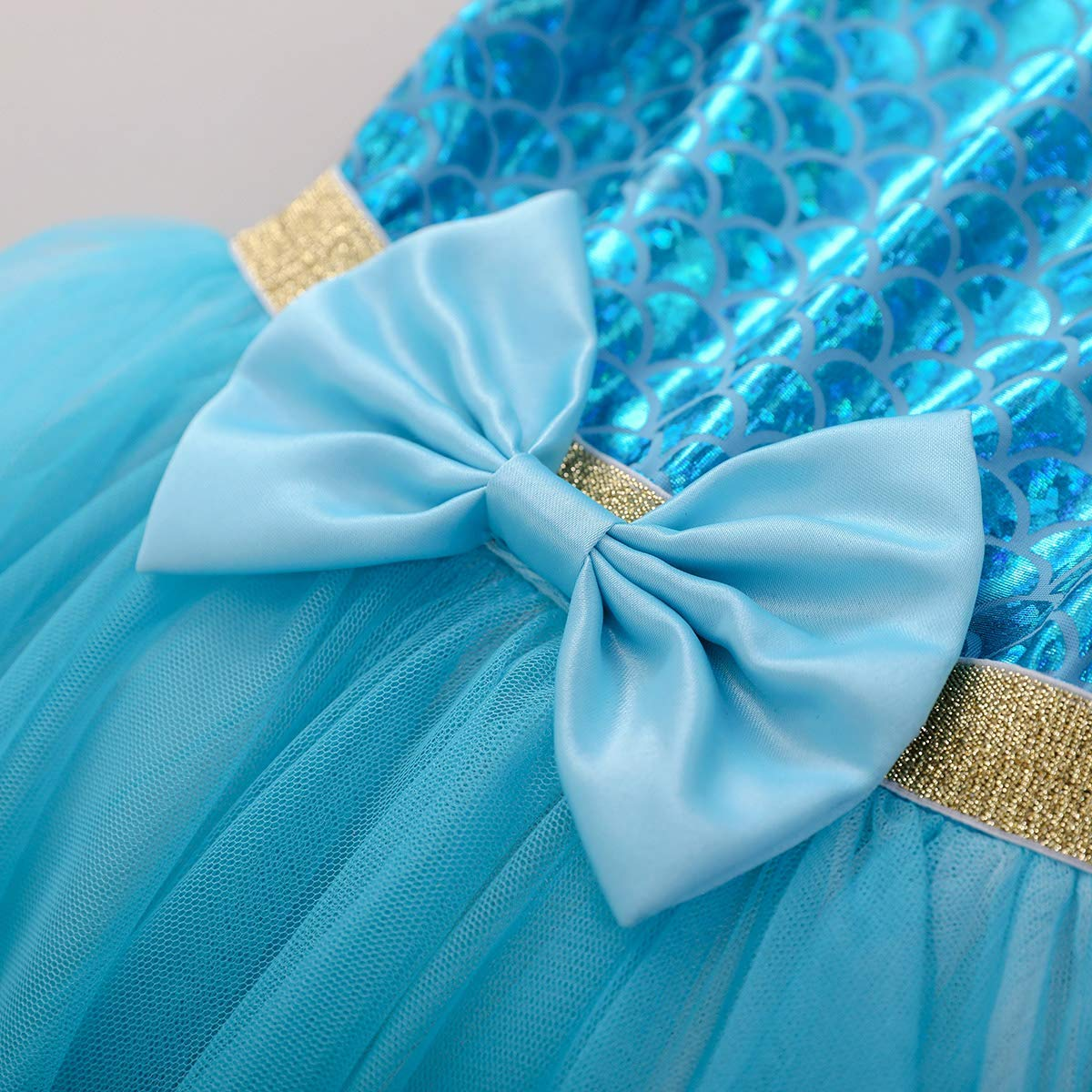 IMEKIS Ragazza Vestito da Sirena Principessa Sirenetta Costumi Halloween Carnevale Cosplay Vestire Festa di Compleanno Tutu Cerimonia Tulle Gonna Fantasia Fish Scale Vestito