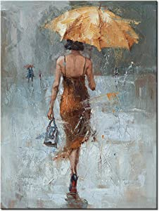 Canvas Wall Art Girl Umbrella with Khaki Dress Walking in Street Rain Modern Painting Abstract Artwork for Office Home Decor