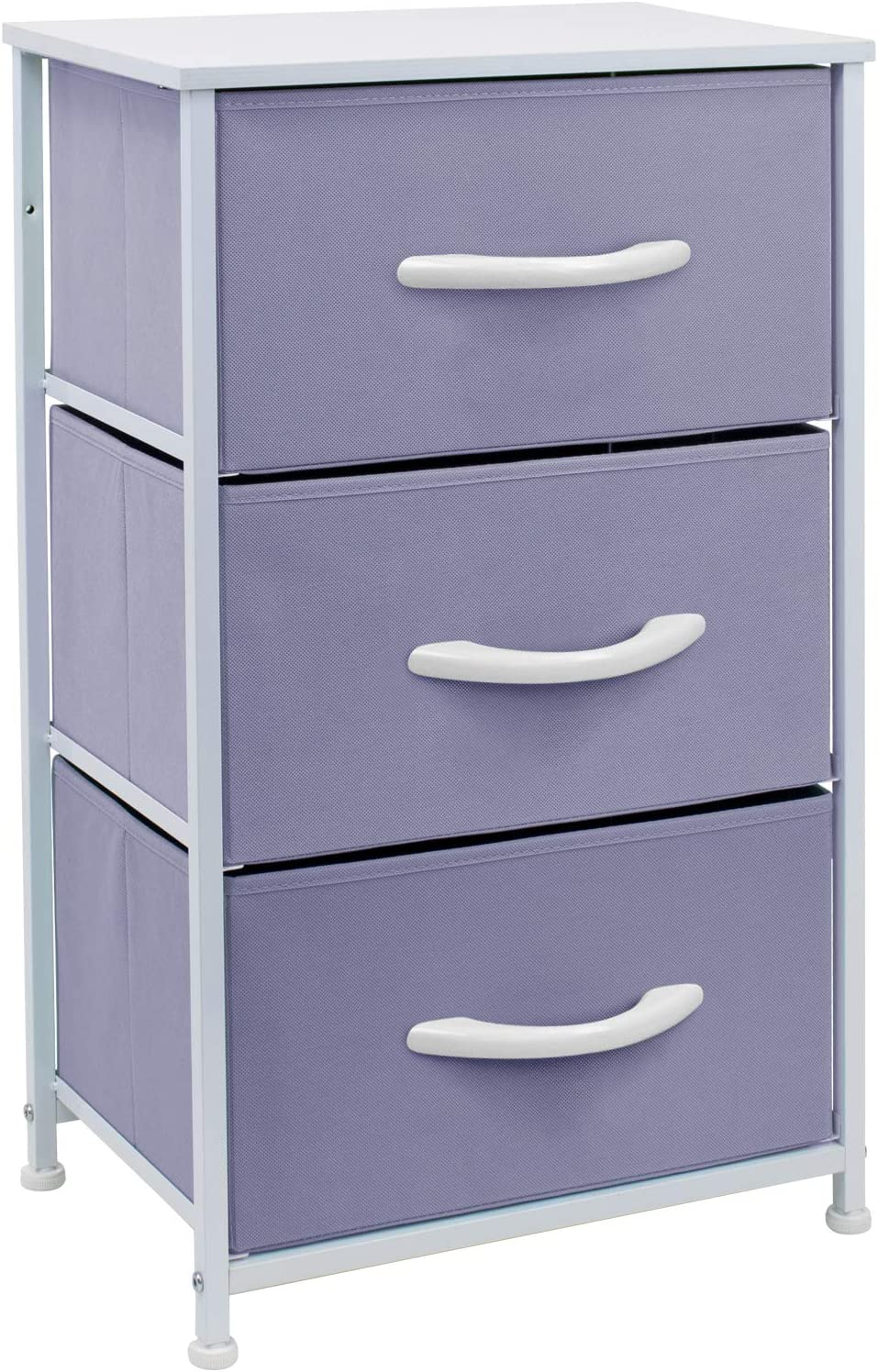 Sorbus Nightstand with 3 Drawers - Bedside Furniture & Accent End Table Chest for Home, Bedroom Accessories, Office, College Dorm, Steel Frame, Wood Top, Easy Pull Fabric Bins (Pastel Purple)