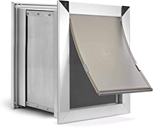 Extreme Weather Aluminum Dog Door for External Door Mounting - Heavy Duty Frame with Magnetic Seal Closure and Locking Security Panel - 4 Sizes in Single or Dual Flap Options