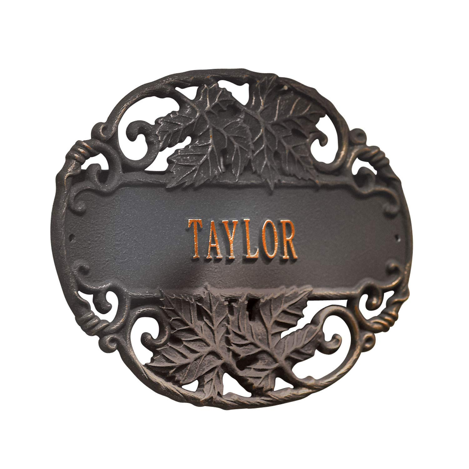 Whitehall Personalized Twining Vines House Sign - Custom Sand-Cast Recycled Aluminum Plaque - Weather Resistant Oil-Rubbed Bronze Finish - 14'' x 10.5''