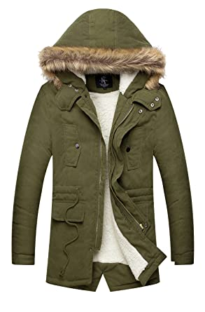 NITAGUT Men's Hooded Faux Fur Lined Warm Coats Outwear Winter ...