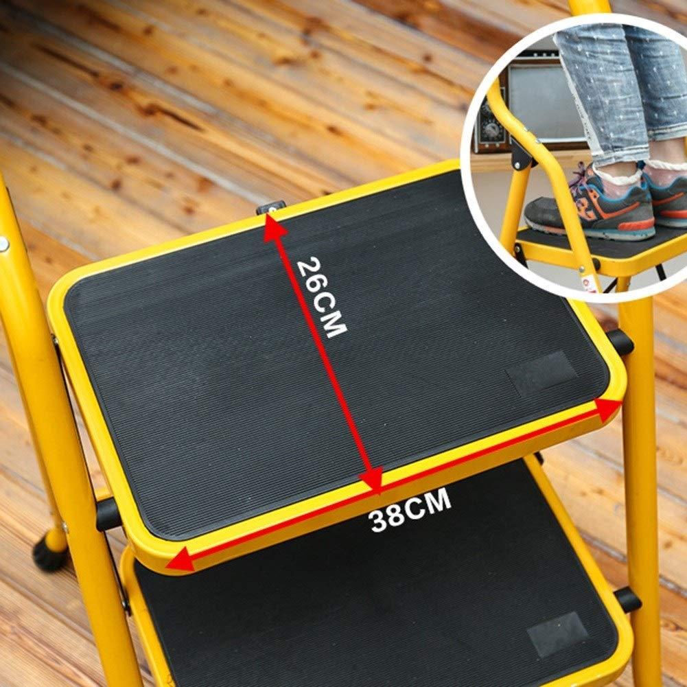 Acero reforzado con cremallera port/átil con cremallera de hierro ensanchado conjunto plegable plegable Escalera de 2//3 escalones Color : Red, Size : 2-step ladder