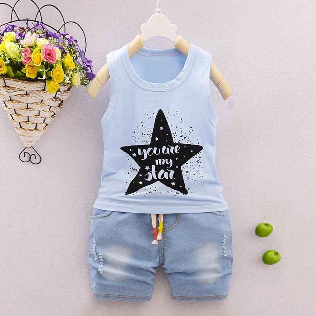 Amanod 2Pcs Infant Baby Boys Girls Star Letter Tops Vest+Shorts Outfits Clothes Set