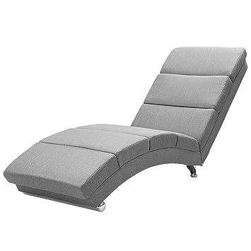 Casaria Sillón Relax Tumbona London | Color: gris | salón | Efecto lino | Ergonómica | 173x55cm | Diseño moderno
