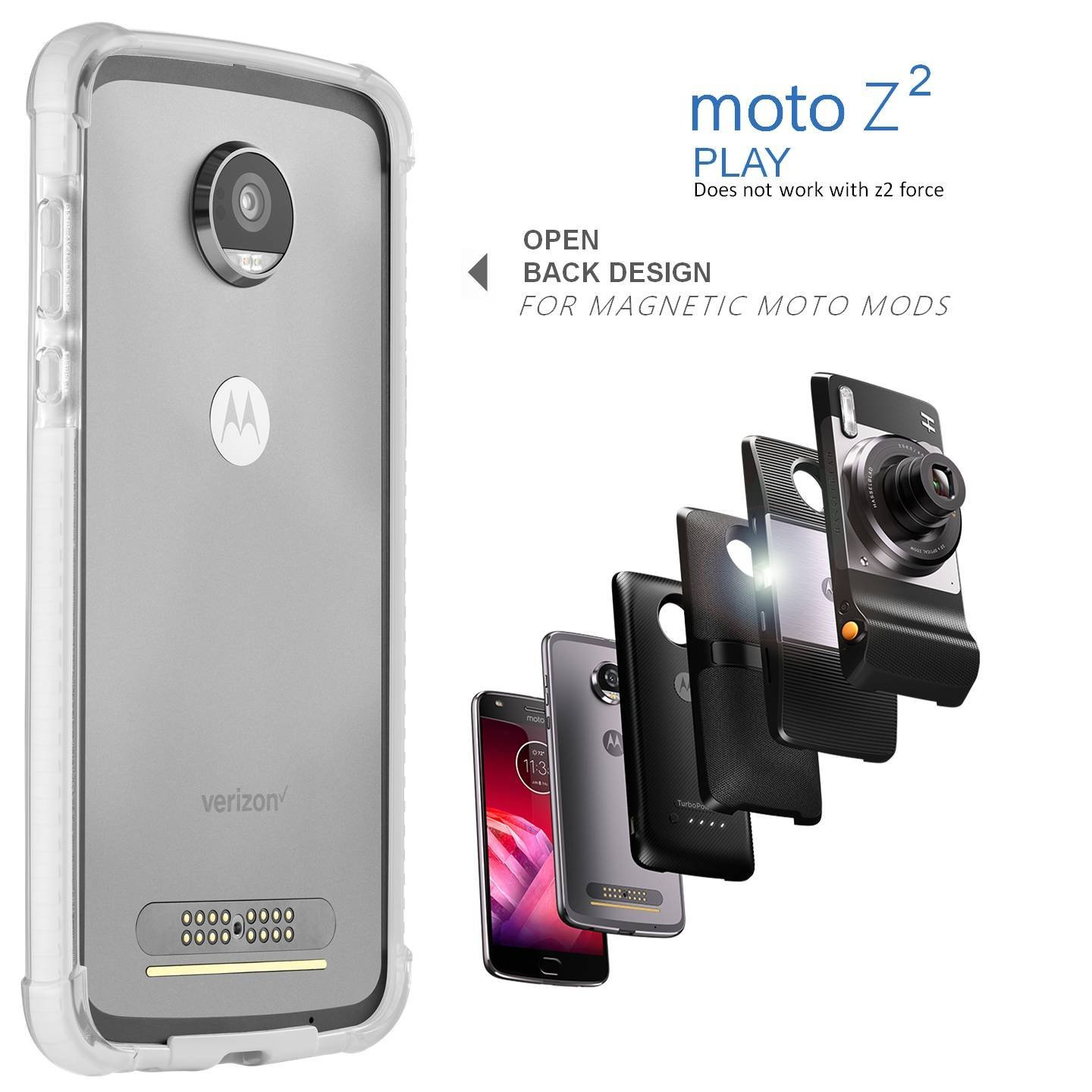 competitive price 58234 d587a Moto Z2 Play Case Bumper - Mod Compatible (Does not Work with Other ...