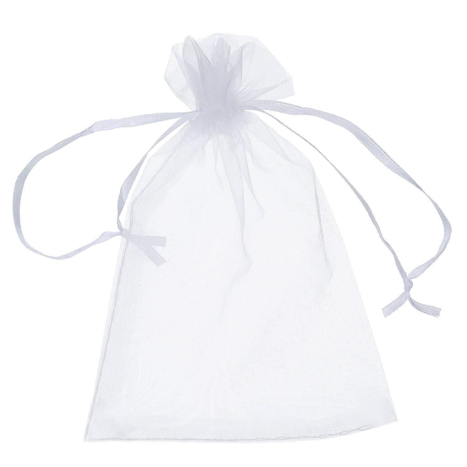 EPRHY Drawstring Organza Jewelry Candy Pouch Christmas Wedding Party Favor Gift Bags 50pcs 3x4, White