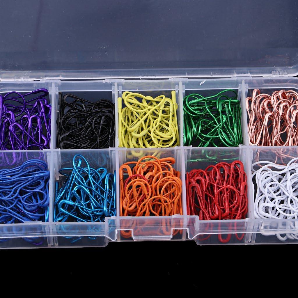 300 10 couleurs ampoule aiguille levage aiguille levage en m/étal /épingle de s/écurit/é sans fil clip avec bo/îte de rangement bricolage bricolage artisanal v/êtements /étiquetage point de tricot