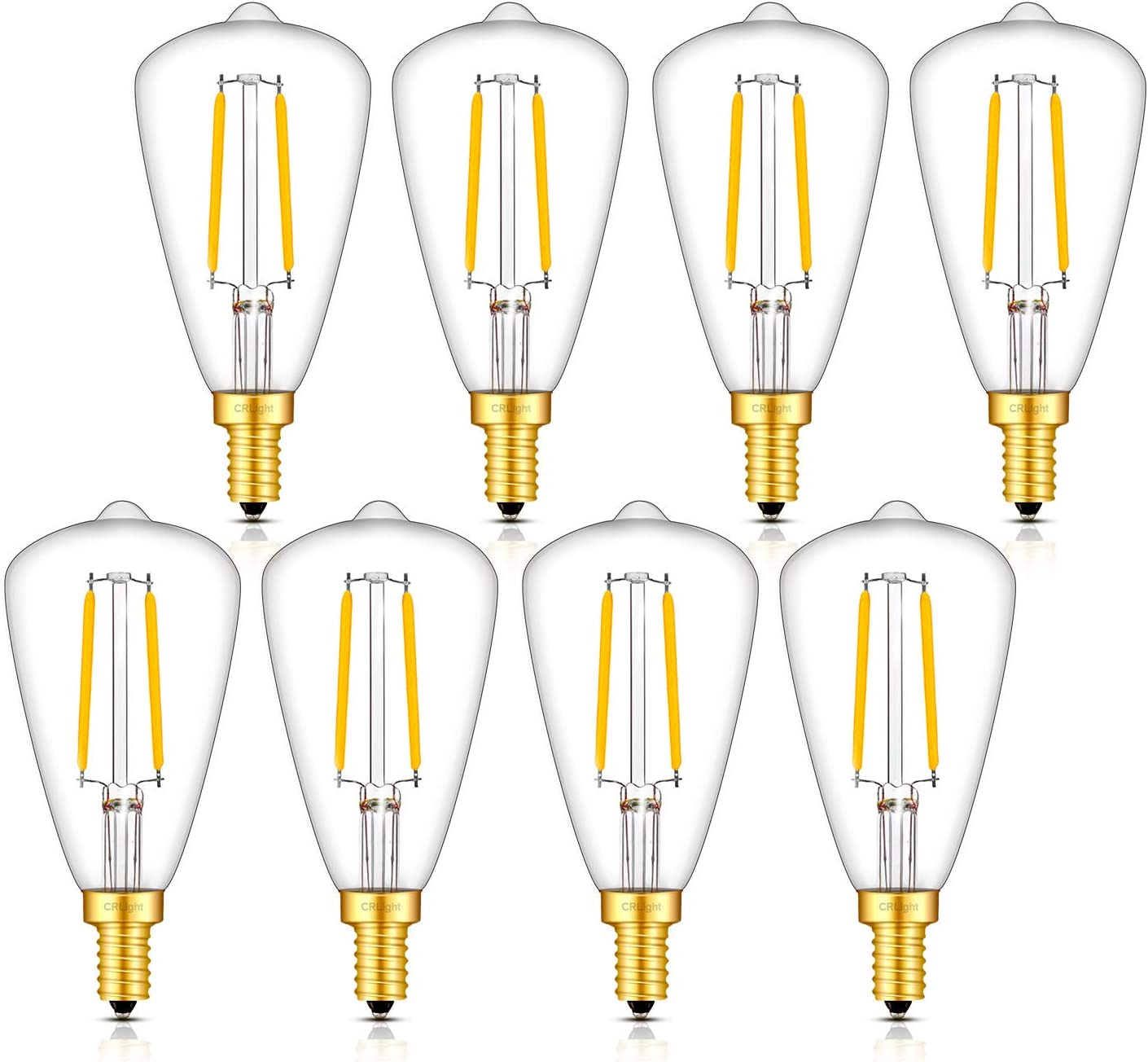 CRLight Candelabra Bulb 30W Equivalent 3000K Soft White 300LM Dimmable, 2W LED E12 Base Vintage Edison Style ST48 / ST14 Clear Glass LED Filament Light Bulbs, Pack of 8