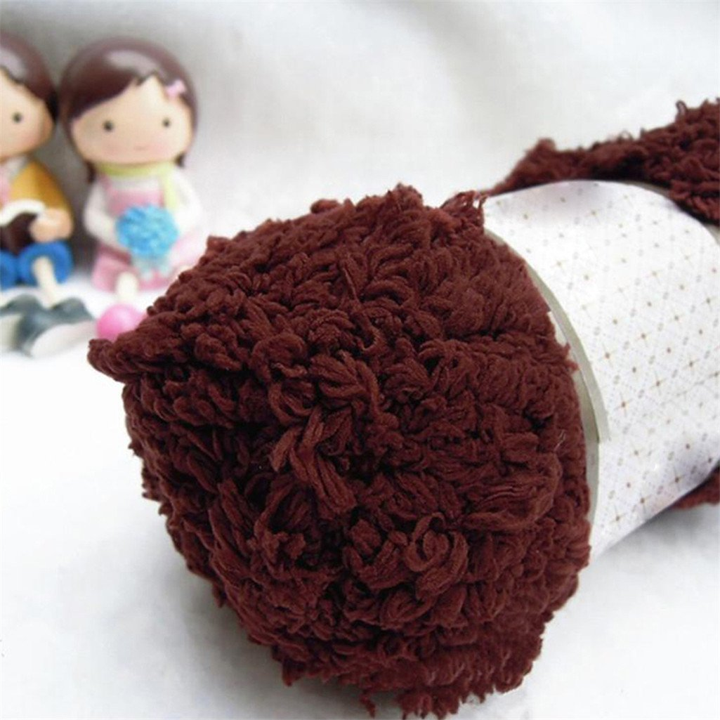 Floralby Warm Soft Chenille Knitting Wool Yarn Craft for Towel Coat Sweater Scarf Scoks Black