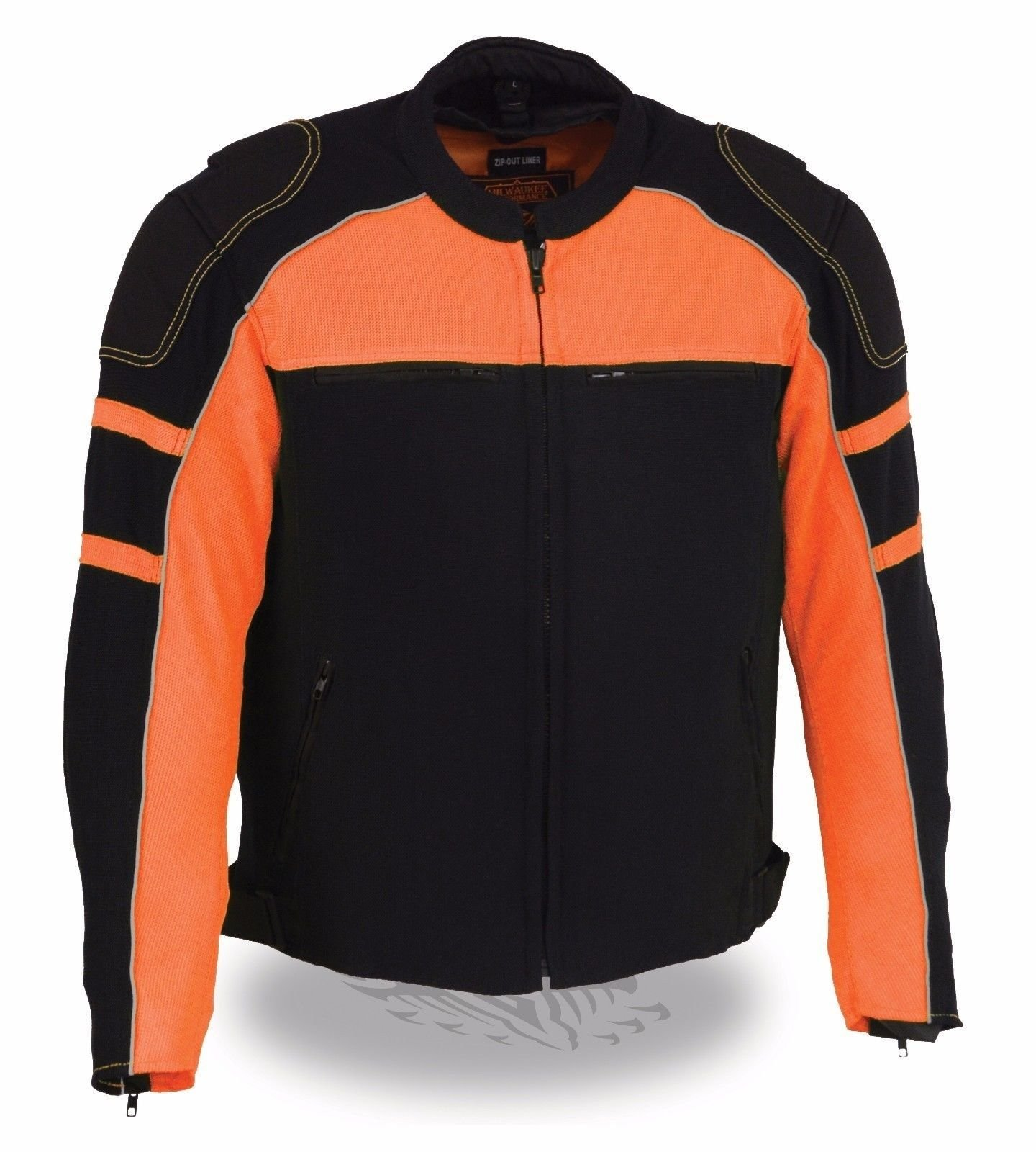 MEN'S MOTORCYCLE BLACK/ORANGE MESH RIDING JACKET W/ REMOVABLE RAIN JACKET LINER (4XL Regular)