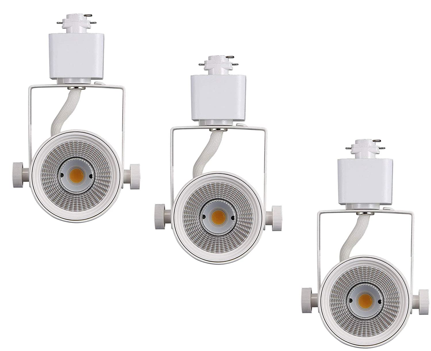 Cloudy Bay LED Track Light Head,CRI90+ Warm White Dimmable,Adjustable Tilt Angle Track Lighting Fixture,8W 40° Angle for Accent Retail,White Finish,Halo Type- 3 Pack