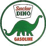 """Desperate Enterprises Sinclair Dino Gasoline Tin Sign, 11.75"""" Diameter"""