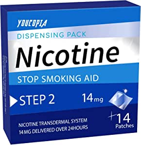 YouCopia Nicotine Transdermal System Stop Smoking Aid Patches, 14 mg Delivered Over 24 Hours, 14 Patches (1 Pack-Step 2)
